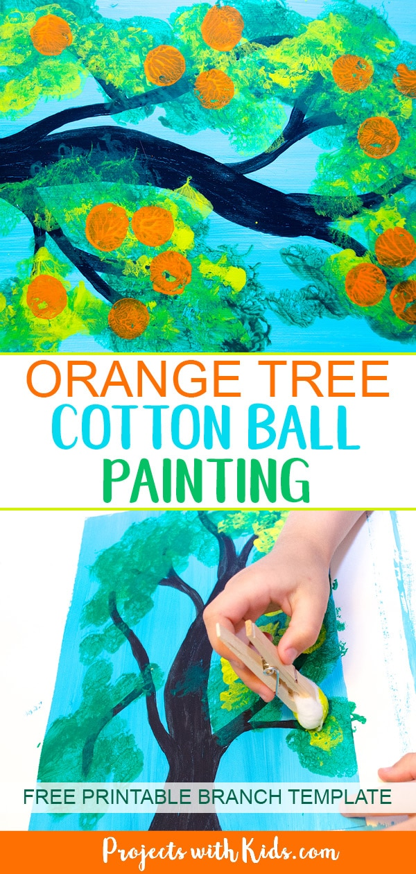 Kids will love creating this orange tree cotton ball painting with gorgeous shades of green and then stamp on oranges using another fun painting tool! Using cotton balls to create the leaves of this fruit tree creates a fluffy texture that is perfect for this summer tree project. Free printable template included! #artprojectsforkids #summercraft #kidscraft #paintingideas #projectswithkids