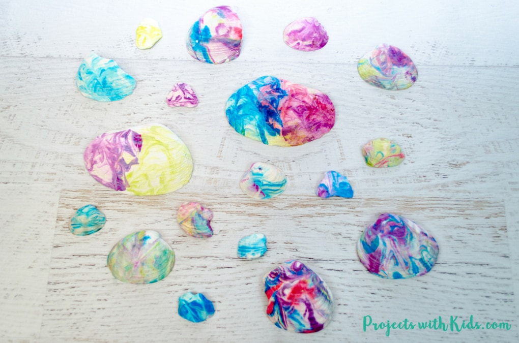 This seashell art is so fun and easy, kids will love creating gorgeous marbled seashells with their beach treasures. The patterns are so colorful and gorgeous! This summer craft will have kids engaged, using their creativity and having fun.