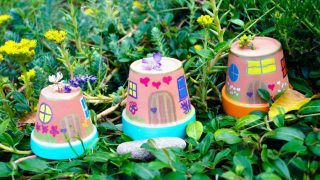 Easy Painted Fairy Houses for the Garden