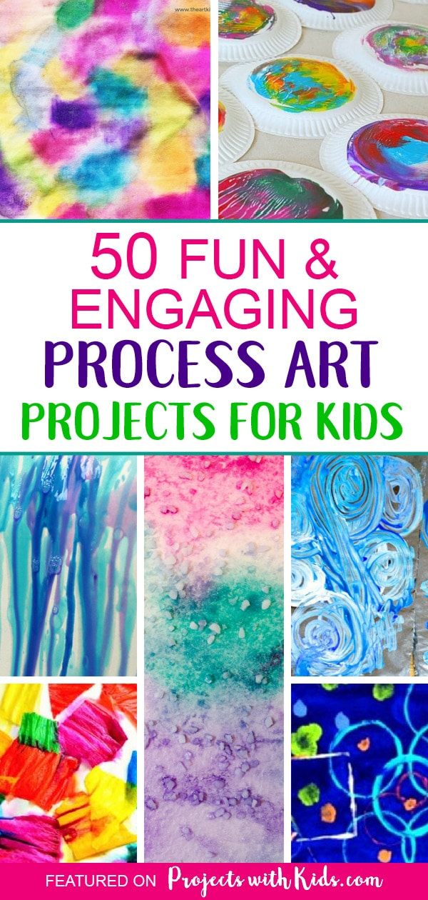 Inspire creativity and fun with these engaging process art projects for kids of all ages! Process art is a great way for kids to learn and explore new techniques and try out new art supplies and materials without focusing on the end result. You are sure to find projects that your kids will love and want to try. It's all about creating, taking risks and having fun! #projectswithkids #processart #artprojectsforkids #kidspainting