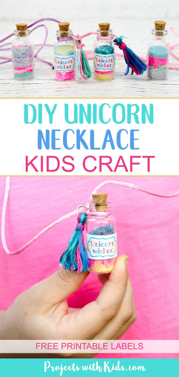 This unicorn necklace kids craft is magical! Kids will love creating their own jars of unicorn wishes and customizing their necklaces. The perfect craft for birthday parties, playdates and summer camp. Free printable labels are included, making these necklaces even more adorable! #projectswithkids #kidscraft #unicorncraft #unicornparty