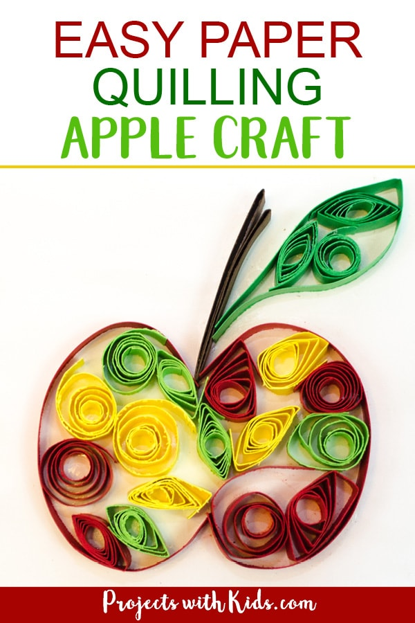 Celebrate fall with this easy paper quilling apple craft! No special tools are needed, making it a perfect craft for kids to learn this fun technique. Kids will love learning and creating with this unique paper craft. #projectswithkids #applecrafts #fallcrafts #paperquilling #craftsforkids