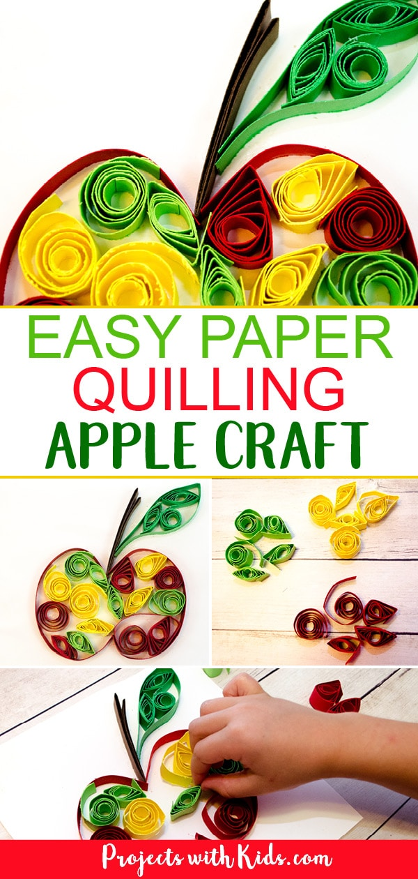 Celebrate fall with this easy paper quilling apple craft! No special tools are needed, making it a perfect craft for kids to learn this fun technique. Kids will love learning and creating with this unique paper craft. #applecrafts #fallcrafts #paperquilling #craftsforkids #projectswithkids