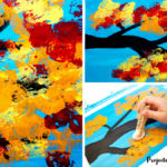 Autumn Tree Painting with Cotton Balls