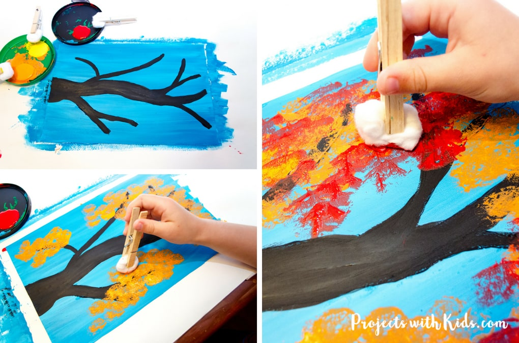 Create this gorgeous autumn tree painting using cotton balls. Kids will love creating this fall craft with all of the beautiful colors of autumn! Includes a branch template to make it an easy autumn craft for kids of all ages.