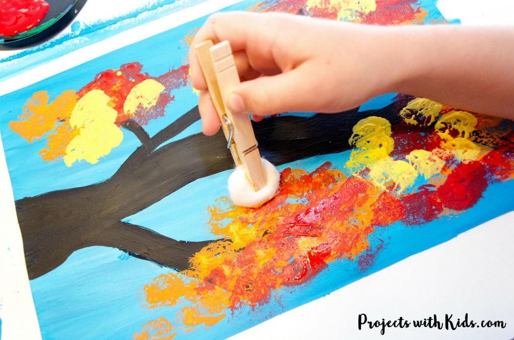 Autumn Tree Painting With Cotton Balls Projects With Kids