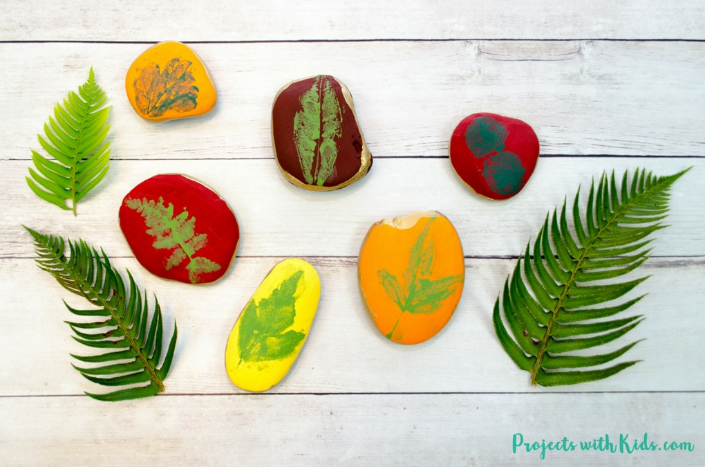 Easy Leaf Printing On Rocks Autumn Craft Projects With Kids