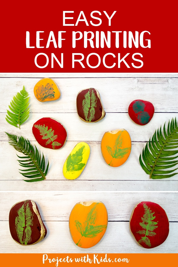 This leaf printing art project is a gorgeous fall craft that kids will love making! An easy painted rock idea that would make a great addition to your fall decor this holiday season. #projectswithkids #fallcraft #rockpainting #leafcrafts #leafart