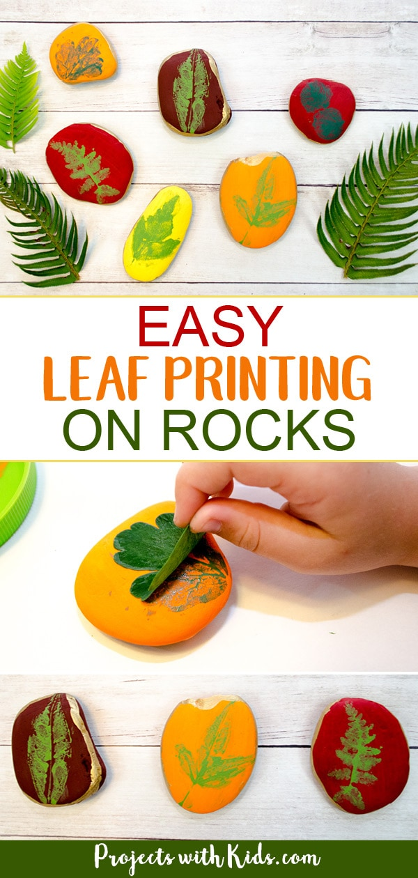 This leaf printing art project is a gorgeous fall craft that kids will love making! An easy painted rock idea that would make a great addition to your fall decor this holiday season. #fallcraft #rockpainting #leafcrafts #leafart #projectswithkids