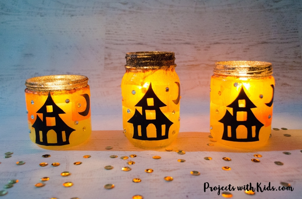 picture about Halloween Crafts for Kids+free Printable identify Delightfully Spooky Do-it-yourself Halloween Lanterns Tasks with Children