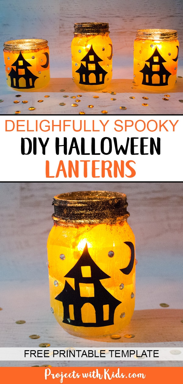 Kids will love to create these gorgeous Halloween lanterns that sparkle and glow in the candlelight! A fun Halloween craft to help decorate for the season. Free printable templates included. #projectswithkids #halloweencrafts #halloweendecorations #kidscrafts #halloweenlanterns