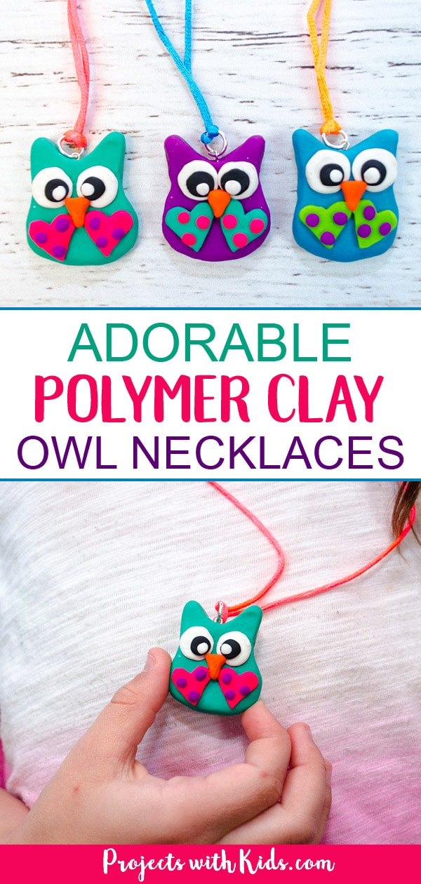 These polymer clay owl necklaces are absolutely adorable! A fun diy jewelry craft for older kids and tweens that would also make a great handmade gift idea. #projectswithkids #polymerclay #jewelrymaking #owlcrafts #kidscrafts #tweencrafts