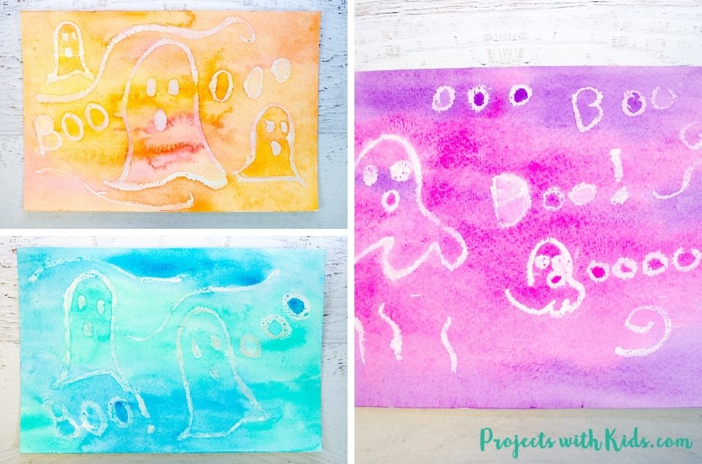 Kids will love watching their ghost pictures appear when they use this easy watercolor resist technique. A fun and simple Halloween craft for kids who want to make a non-scary Halloween project.