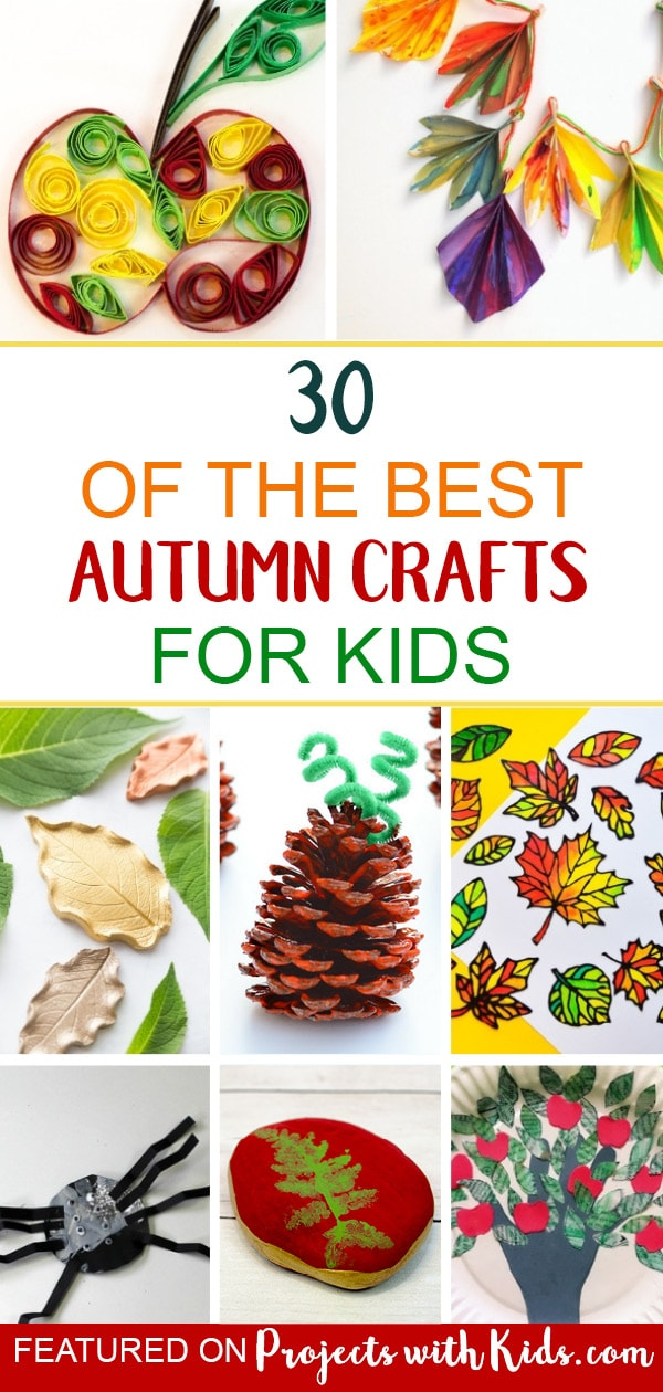 These autumn crafts for kids will inspire fun and creativity! Click through to find fall leaf crafts, pumpkin and apple crafts, fall decor crafts and more. #autumncrafts #fallcrafts