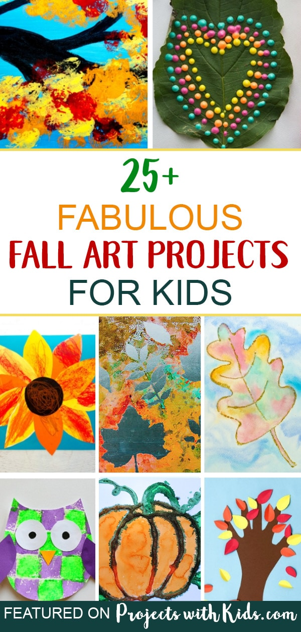These fabulous fall art projects for kids will inspire creativity and fun! There are so many creative ideas for kids of all ages, you are sure to find one (or more!) to try. Click through to find fall tree ideas, art projects with fall leaves, pumpkins, animals and more! #projectswithkids #fallcrafts #fallart #autumncrafts #kidsart