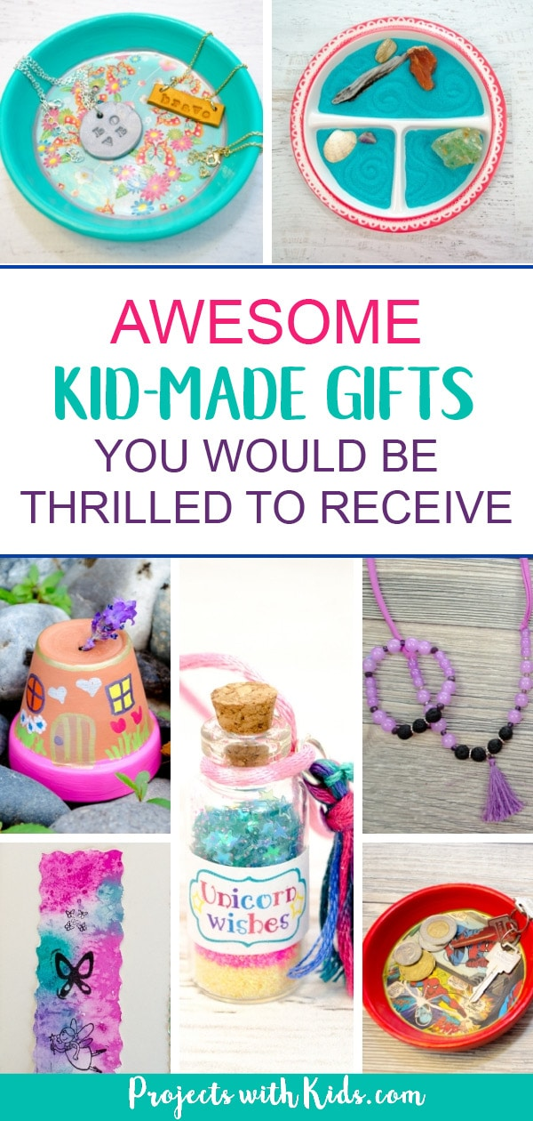 Kid-made gifts are always so special to make and share with friends and family. This collection is a wonderful list of awesome kid-made gifts that anyone would be thrilled to receive! #projectswithkids #kidscrafts #kidmadegifts #handmadegifts