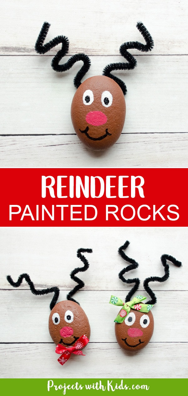 These reindeer painted rocks are easy to make and just adorable! They make a wonderful Christmas craft that kids of all ages will enjoy creating. #reindeercraft #christmascrafts #rockpainting #projectswithkids