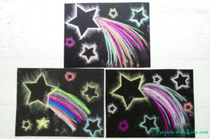 Use easy chalk pastel techniques to create shooting star paintings that are out of this world! Free star templates included.