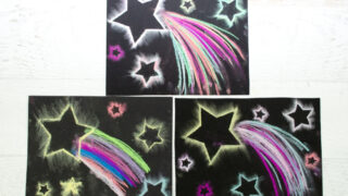 Dazzling Shooting Star Paintings with Chalk Pastels