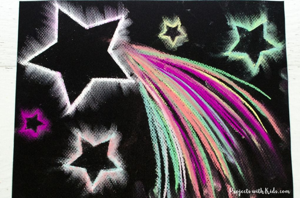 Shooting star chalk pastel art project for kids