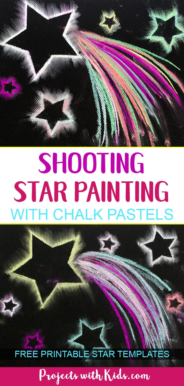 Use easy chalk pastel techniques to create shooting star paintings that are out of this world! Free star templates included. #chalkpastels #kidsart #starcrafts #projectswithkids