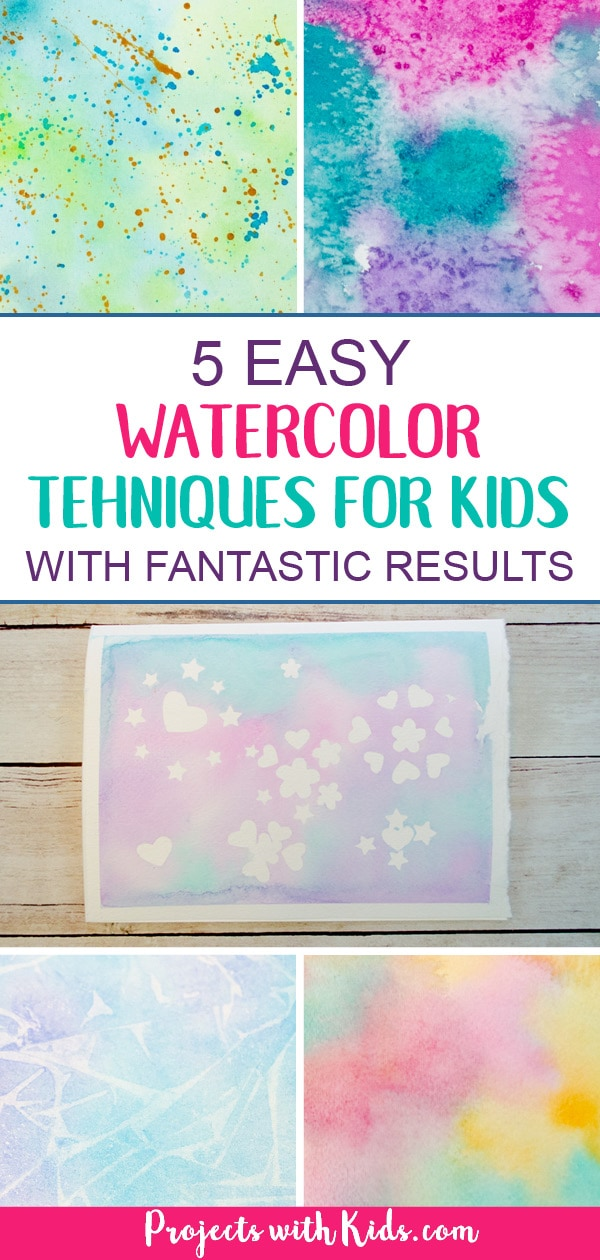 These easy watercolor techniques for kids are perfect for all ages and offer endless possibilities for creativity and fun. Kids will love exploring these watercolor painting ideas that produce magical and unexpected results! #projectswithkids #watercolorpainting #kidsart #artprojectsforkids #artsandcrafts