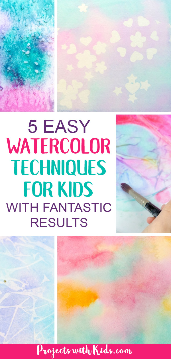 These easy watercolor techniques for kids are perfect for all ages and offer endless possibilities for creativity and fun. Kids will love exploring these watercolor painting ideas that produce magical and unexpected results! #projectswithkids #watercolorpainting #kidsart #artsandcrafts