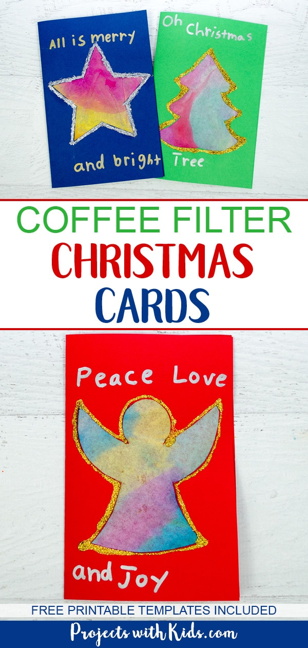 These kid made Christmas cards with coffee filters are colorful and glittery and super simple for kids to make. They can also be turned into gorgeous Christmas suncatchers to enjoy all season long. Free printable templates included. #diychristmascards #christmascrafts #christmascraftsforkids #projectswithkids