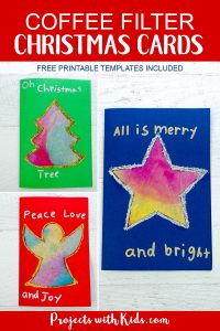 These kid made Christmas cards with coffee filters are colorful and glittery and super simple for kids to make. They can also be turned into gorgeous Christmas suncatchers to enjoy all season long. Free printable templates included. #diychristmascards #handmadechristmas #christmascraftsforkids #projectswithkids