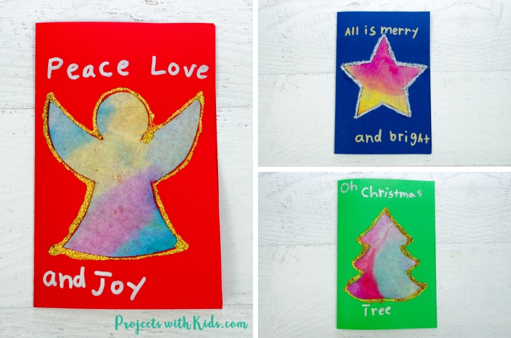 These kid made Christmas cards with coffee filters are colorful and glittery and super simple for kids to make. Free printable templates included.