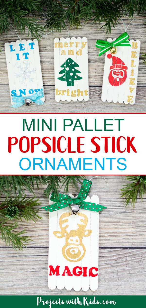 These mini pallet popsicle stick Christmas ornaments are absolutely adorable! They would make a great Christmas craft for older kids and tweens and a beautiful handmade gift for friends and family. #christmascrafts #diyornaments #popsiclestickcrafts #projectswithkids