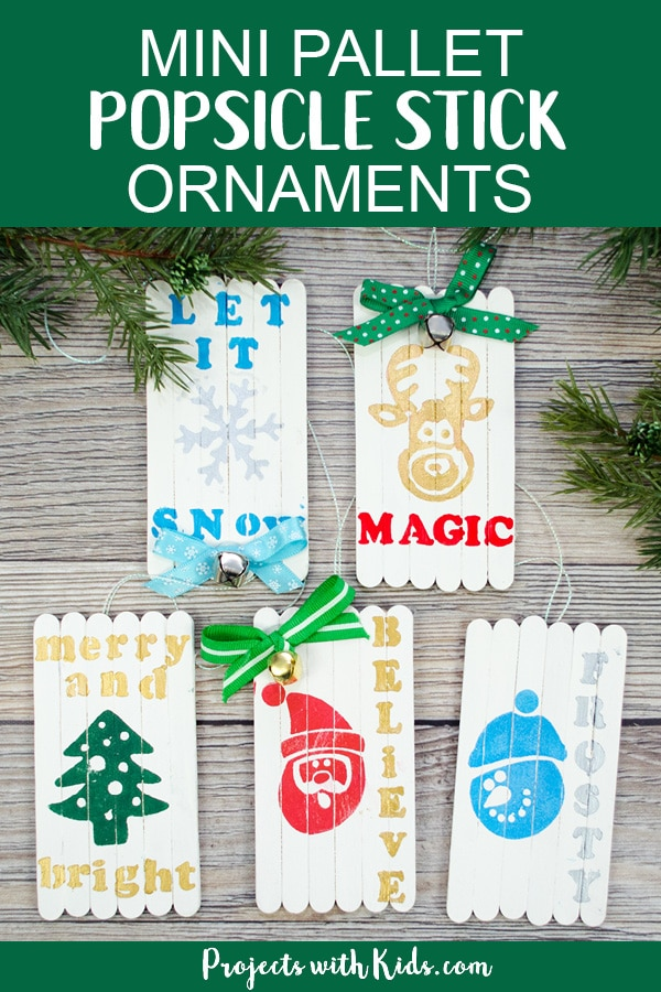 These mini pallet popsicle stick Christmas ornaments are absolutely adorable! They would make a great Christmas craft for older kids and tweens and a beautiful handmade gift for friends and family. #christmascraftsforkids #diyornaments #handmadechristmas #projectswithkids