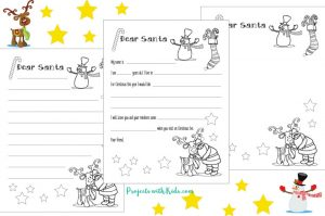 Free Santa letter printable template for kids to write and color. A wonderful Christmas coloring and writing activity for kids. Three templates to choose from depending on the age of the child!