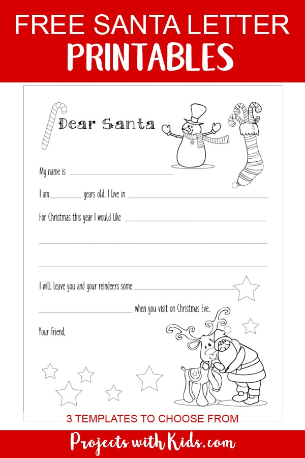 Free Santa letter printable template for kids to write and color. A wonderful Christmas coloring and writing activity for kids. Three templates to choose from depending on the age of the child! #lettertosanta #christmascoloring #kidschristmas #projectswithkids