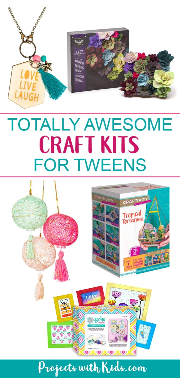 There are so many hours of crafty fun to be had with these craft kits for tweens! You are sure to find the perfect gift for the crafty kid in your life. #giftguide #tweencrafts #giftsfortweens #projectswithkids