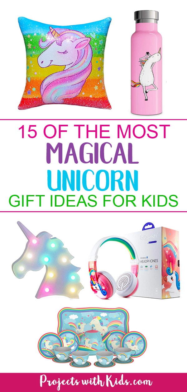 These unicorn gift ideas will have you believing in unicorns and dreaming about rainbows and glitter! There are so many awesome gift ideas for the unicorn obsessed kid on your list. There are gift ideas for younger kids as well as older kids and tweens, crafty unicorn gifts and gorgeous unicorn decor that would brighten up any room. #unicorn #giftguide #unicorngifts #projectswithkids