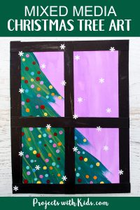 Kids will love creating this beautiful Christmas tree art project using a mixed media approach. Fun and easy techniques make this a wonderful Christmas craft activity! #christmascrafts #christmasart #kidsart #projectswithkids