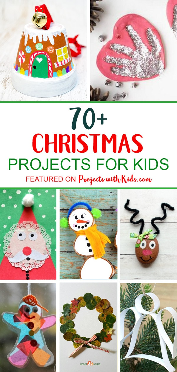 The ultimate list of 70+ creative Christmas projects for kids! Fun Christmas crafts, unique DIY ornaments, beautiful kid-made Christmas cards and more. Project ideas that kids of all ages will love to create. #christmascrafts #kidscrafts #christmascraftsforkids #projectswithkids
