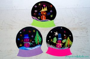 Winter Snow Globe Craft with Chalk Pastels
