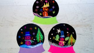 Winter Snow Globe Craft with Chalk Pastels