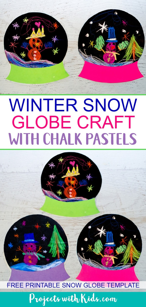Brighten up your winter with this colorful snowglobe craft. Chalk pastels on black paper help make these snow globes extra vivid. Kids will love creating their own winter wonderland scene and exploring chalk pastels! Free printable template included. #snowglobecrafts #winterart #chalkpastels #projectswithkids