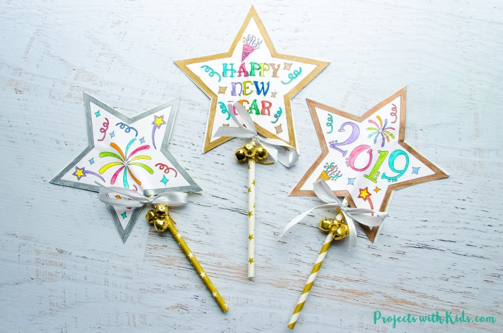 New Year S Eve Wand Craft With Free Printable Projects With Kids