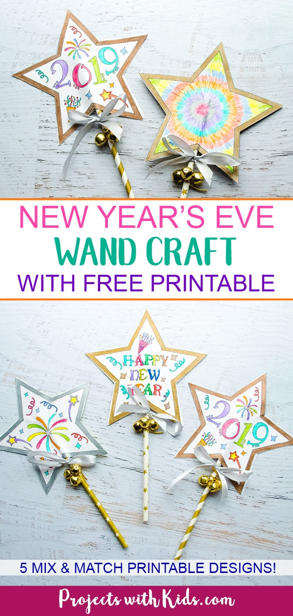 Ring in the New Year with this festive wand craft. An easy New Year's Eve craft that kids can also use as a noisemaker. 5 free printable designs to mix and match for kids to have fun with! #newyearscrafts #kidscrafts #papercrafts #projectswithkids