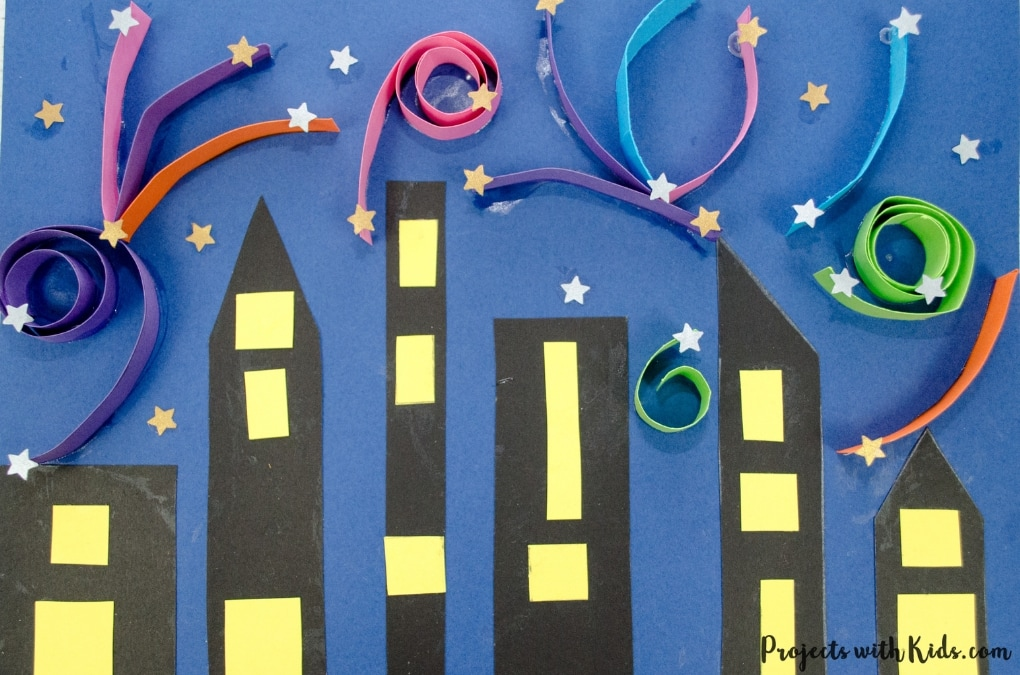Make this colorful festive fireworks craft that kids will love! This is a super easy and fun paper craft that can be used for New Years, the 4th of July or Canada Day. Free printable template included.