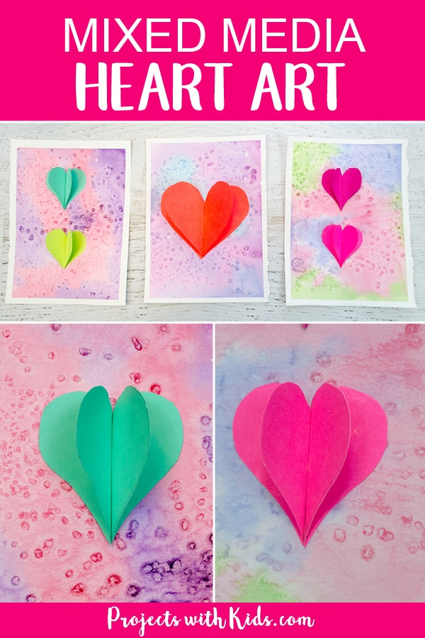 Kids will love using watercolors and paper to create this beautiful heart art project that is perfect for Valentine's Day and Mother's Day. Easy watercolor techniques makes this a perfect art project for kids of all ages. #heartart #valentinesdaycrafts #watercolorpainting #mothersdaycrafts #projectswithkids