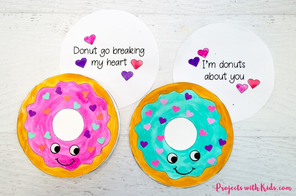 photo relating to Printable Valentines Craft named Donut Playing cards for Valentines Working day with No cost Printable