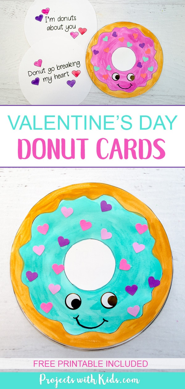 picture relating to Donut Printable known as Donut Playing cards for Valentines Working day with Totally free Printable