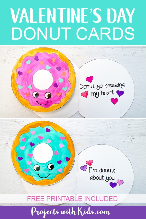 Kids will have tons of fun creating these adorable Valentine's Day donut cards! A super easy Valentine's craft that comes with a free printable. #valentinecrafts #artsandcrafts #freeprintablesforkids #projectswithkids