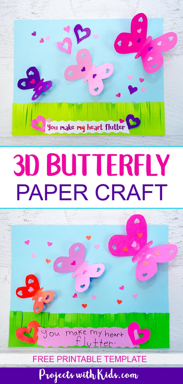 picture regarding Free Printable Paper Crafts identify Crank out a Attractive 3D Butterfly Paper Craft Jobs with Young children