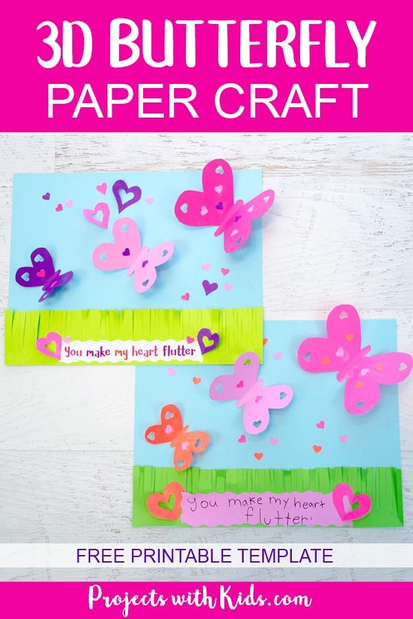 Make a beautiful 3D butterfly paper craft that is perfect for Valentine's Day, Mother's Day and spring. A great craft to work on scissor skills. Free templates included. #butterflycrafts #papercrafts #valentinecrafts #projectswithkids